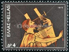 GREECE: A stamp printed in Greece dedicated to the traditional musical instruments shows an ANCIENT GUITAR PLAYER, circa 1975.
