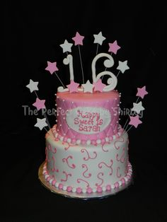 Pink Sweet 16 cake - Pretty in pink Sweet 16 cake. Covered in fondant, top tier quilted with white dragrees, bottom tier decorated with swirls.