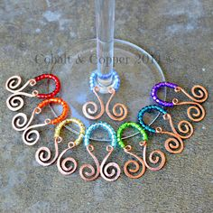 Wine Glass Charms by CobaltandCopper on Etsy