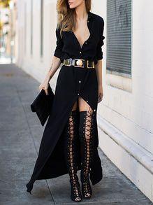 robe longue fendu -Noir
