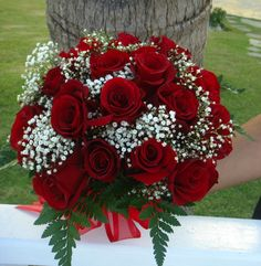 Bouquet Bridal: Red Roses and Small White Flowers Bouquet Flowers Roses Bouquet, Red Rose Bouquet, Rose Wedding Bouquet, White Wedding Bouquets, White Wedding Flowers, Bridesmaid Flowers, Red Roses, White Flowers, Bridal Bouquets