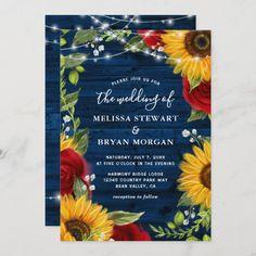 Sunflower Wedding Invitations, Burgundy Wedding Invitations, Country Wedding Invitations, Watercolor Wedding Invitations, Rustic Invitations, Wedding Stationery, Rustic Wedding Colors, Blue Wedding, Daisy Wedding