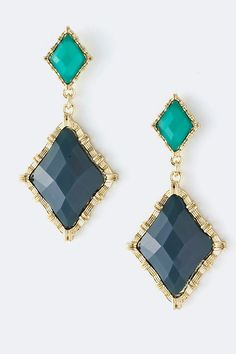 navy and turquoise gold dangle earrings - Indigo Maria