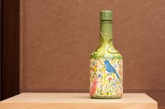 Decoupage Bottle Hand Painted in Vivid Green FALL by BeauMiracle, $29.00