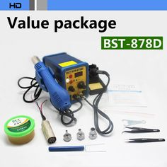 112.71$ Watch now - http://alizqj.worldwells.pw/go.php?t=32227719229 - BEST BST-878D Mobile Phone Repair Hot air gun + soldering iron Combo SMD rework station Gift Value Package free DHL EMS
