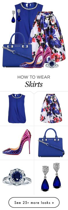 """Floral Skirt"" by strawberrywaffles on Polyvore featuring M&S Collection, Christian Louboutin, MICHAEL Michael Kors and Kobelli"