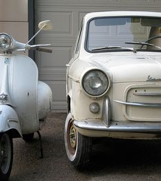 ♕ #Vespa Car and Scooter together #QuirkyRides #ClassicCar