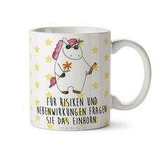 Tasse Einhorn Woodstock aus Keramik  Weiß - Das Original von Mr. & Mrs. Panda.  Eine wunderschöne Keramiktasse aus dem Hause Mr. & Mrs. Panda, liebevoll verziert mit handentworfenen Sprüchen, Motiven und Zeichnungen. Unsere Tassen sind immer ein besonders liebevolles und einzigartiges Geschenk. Jede Tasse wird von Mrs. Panda entworfen und in liebevoller Arbeit in unserer Manufaktur in Norddeutschland gefertigt.    Über unser Motiv Einhorn Woodstock  Ein wunderschönes Einhorn aus der Mr…