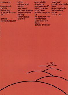 1. Zurich Tonhalle. musica viva. Concert poster, 1957