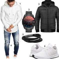 Herren-Look mit weißem Hoodie, Adidas Sneakern, Leif Nelson destroyed Jeans, Diesel Chronograph, Fossil Lederarmband und schwarzer Blend Winterjacke.
