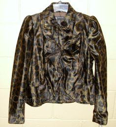 INC International Concepts NEW Ruffle Faux Fur Jacket Coat Brown Leopard Medium