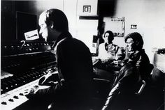 "Eno, Fripp and Bowie during sessions for ""Heroes"" ( Berlin, 1977 )"