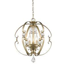 "Golden Lighting 1323-3P 3 Light 18"" Wide Pendant From the Ella Collection White Gold Indoor Lighting Pendants"
