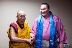 His Holiness the Dalai Lama with Hakuho Sho, champion Sumo wrestler from Mongolia during the lunch break for the teachings at Showa Joshi Women's University in Tokyo, Japan on April 13, 2015. Photo/Tenzin Jigmey #dalailama