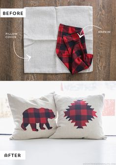No Sew Rustic Buffalo Plaid Pillows made from napkins. Printable Silhouettes included! MountainModernLife.com
