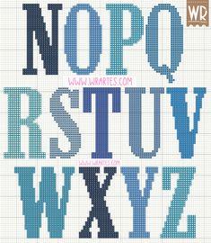 Gráfico alfabeto masculino para ponto cruz                                                                                                                                                                                 Mais
