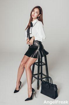Park Da Hyun color portrait seated stool white shirt black tie leathe… Woman Skirts woman in black leather mini skirts Mini Skirt Dress, Sexy Skirt, Shirt Skirt, Sexy Outfits, Fashion Outfits, Womens Fashion, Petite Fashion, Work Outfits, Dress Fashion