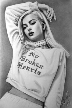 Pencil Drawing - Karakalem Bebe Rexha