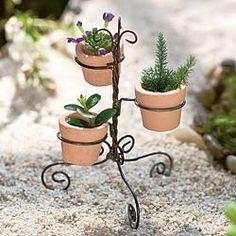 Fairy Garden Mini Wire Pot Holder w/Pots