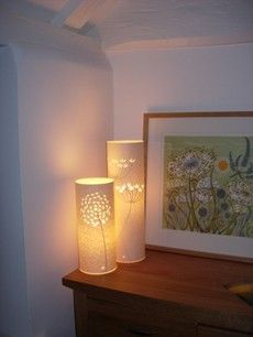 Julian from Jam Gifts has to Hannah Nunn lamps that sit next to his Angie Lewin print