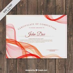 Certificado de aprovechamiento con formas onduladas rojas