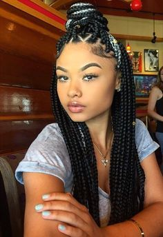 75 Super Hot Black Braided Hairstyles To Wear-Black n gray box braids