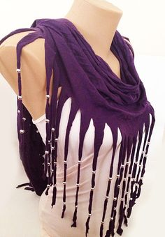 ON SALE  Purple Scarf  Fringe Scarf  Jersey Scarf with by MaxiJoy, $19.60