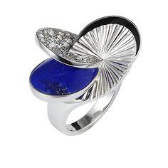 Ooohh la la la la!!!Paris Nouvelle Vague ring, large model - White gold, diamonds, colored stones - Fine Rings for women - Cartier