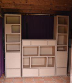 3 blocs en carton pour rangement de vaisselle www.mobilier-carton-sur-mesure.com