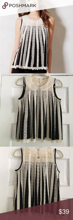 """Anthropologie top size Medium EUC Anthro brand """"Lilis Closet"""" """"the Lattice Line"""" blouse size medium. (Size tag has been removed) This too is so beautiful! Knit black with cream crochet detail and cute sheer Peter Pan collar. Has a """"bell"""" shape to it, very flattering! Sold out very quickly online! Smoke free home. Anthropologie Tops Blouses"""