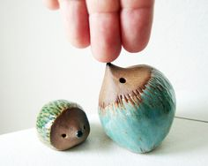 Mama and Baby Hedgehog Clay Sculpture Set of 2