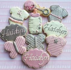 Baby Shower Cookies~       No source, Ivory, pink, Grey, Onesie, rattle, bottle, butterfly