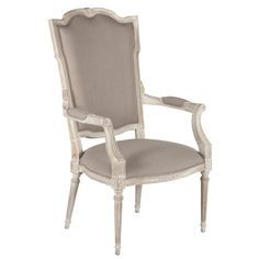 """Svelte, shapely and slightly sultry, the Josie Occasional Chair is as alluring as Josephine Bonaparte herself. The Josie Occasional Chair will always be the center of attention in any room because of its curves and attention to detail such as a spring seat and single welt piping.  Bleached oak Wood Textured Dark Linen  28""""W x 24""""D x 46""""H Seat: 17.75""""H Arm: 27.5""""H Cushion Type Medium High Density Shop at Lovecup.com"""