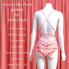 Avoca One piece pattern features a cross over back .