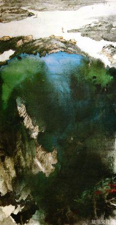 張大千 - 山水畫《闊浦遙山》                 Zhang Daqian, (1899 -1983 )