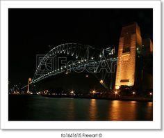 Sydney Harbour Bridge At Night - Artwork  - Art Print from FreeArt.com