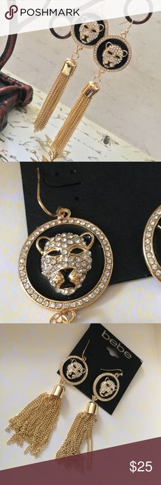 BeBe Gold & Crystal Pave Tiger Head w/ Tassles bebe Gold and Crystal Pave Tiger Head w/ Tassle Dangle Earrings Brand NWT  ~ Please RESPECT my Items are already being sold at lowest possible prices (to include PM fees). ~All Low Ball Offers Will Be Ignored~~  Thank you for shopping my closet! bebe Jewelry Earrings