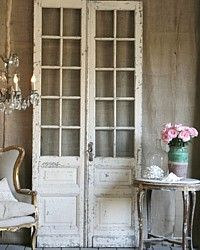 Antique & Vintage Furniture  I saw doors like this at Gatherings in Corpus Christi,,,,cost about two hundred fifty per panel  Love this look