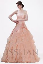 NWT Long Formal Prom Evening Ball Quinceanera Gown Dress Pink Layered Custom Szs