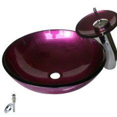maßgeschneiderte Waschbecken (12 cm Durchmesser) mit Wasserfall Armatur, Einbauring und Wasserablauf