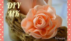 Цветок канзаши из широкой ленты /Kanzashi flower of satin ribbons