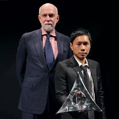 Artist Paul Chan receiving the HUGO BOSS PRIZE 2014 at the Guggenheim Museum in New York.