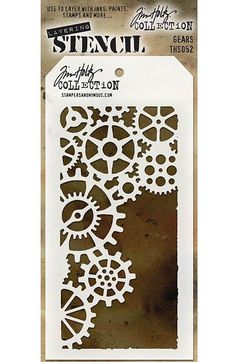 TIM HOLTZ: Layering Stencil (Gears) Use these stencils to layer with inks, paints, stamps and more.This package contains one 8-1/2x4-1/8 inch stencil. *Try using some of our MIXED MEDIA paints or Tim