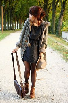 dress with long sweater and ankle boots