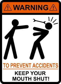 Warning To Prevent Accidents Keep Your Mouth Shut, Wrench, vinyl, decal, car, window, toolbox, sticker