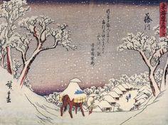 hiroshige payasge maison et homme sous la neige (2)