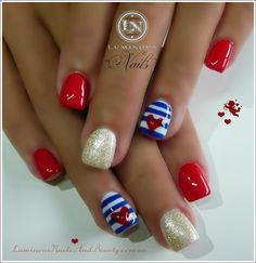 Luminous Nails: Cute Sailor Nails in Red, Gold, Blue & White Gel. Fancy Nails, Love Nails, How To Do Nails, Pretty Nails, Sailor Nails, Luminous Nails, Patriotic Nails, Nail Art, Creative Nails
