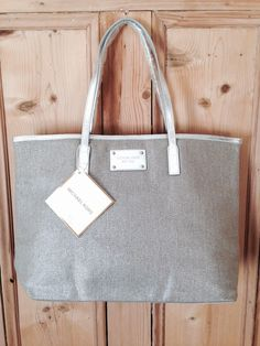 b280db7e375a Brand new with tags - Michael Kors metallic shopper bag with woven print  and silver straps