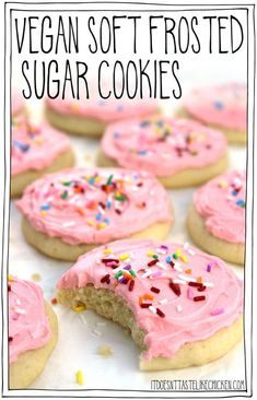 Vegan Soft Frosted Sugar Cookies: pillowy soft, cakey, frosted cookies- they are almost like the top of a cupcake that got smushed into a cookie complete with frosting and sprinkles! Decorate them for any occasion, birthdays, Christmas, Halloween, Thanksgiving, Valentine's day, weddings, baby showers. Egg free, dairy free, and pretty easy to make! #itdoesnttastelikechicken #veganrecipes #vegandesserts #vegancookies