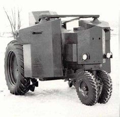 John Deere A1 armored tractor of 1941. This prototype for an armored gun tractor featured three armored compartments: one for the driver in back, and two more suspended in front of the drive tires each housing a .30 MG and a gunner. It was rejected after trials because of poor visibility for all three crew, and minimal space for the machine guns and their gunners.